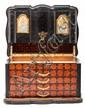 Cofre joyero Napoleón III en marquetería interior de palisandro y jacarandá y exterior de ébano, del último tercio del siglo XIX