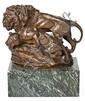 Agapit Vallmitjana i Abarca Barcelona 1850 - 1915 Leones Grupo escultórico en bronce con peana de mármol