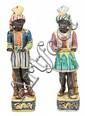 Pareja de siervos venecianos en loza, del siglo XX