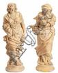 Escuela española del segundo tercio del siglo XIX Primavera e Invierno Pareja de esculturas en terracota con bases