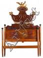 Cama fernandina en caoba, palma de caoba y madera tallada y dorada, hacia 1825