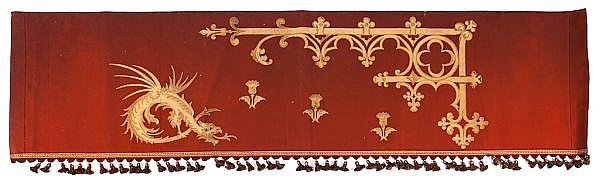 Conjunto de dos juegos de cortinas y colgaduras modernistas en tela con aplicaciones de piel, de finales del siglo XIX