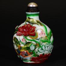 YONG ZHENG MARK, CHINESE ENAMEL GLASS SNUFF BOTTLE