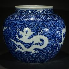 A BLUE AND WHITE DRAGON JAR