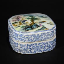 QIANLONG MARK, BLUE AND WHITE FAMILLE ROSE BOX