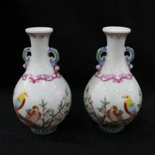 QIANLONG MARK, A PAIR OF FLORAL FAMILLE ROSE VASES