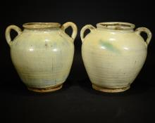 A PAIR OF SONG STYLE CELADON GLAZE JAR WITH TWO EARS