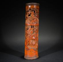 A CARVED BAMBOO CONTAINER