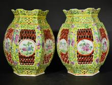 A PAIR OF FAMILLE ROSE HOLLOWED-OUT LAMPSHADES