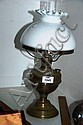 Vintage Austrian brass kerosene lantern with milk