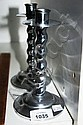 Pair Art Deco chrome candlestick holders with