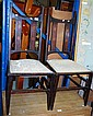 Pair of art nouveau side chairs with inlaid splat