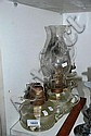 4 Various clear glass kerosene lamps each with