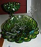 3 pieces of green carnival glass incl. egg serving