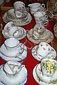 Various cups, saucers, plates incl. Colclough, etc