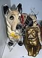4 vintage plaster made dog figurines incl.