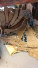 Qty of hessian coffee bean sacks, various makers, regions etc