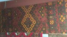 Persian kilim with geometric design in autumnal colours, pure wool, hand woven. 290 x 155cm
