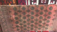 Persian, pure wool, hand knotted turkiman rug, geometric design, 244 x 134cm