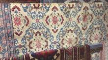 Vintage, Persian kashan rug, all-over floral design on an ivory ground, 300 x 213cm