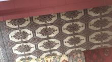 Large Pakistani pure wool hand made carpet, geometric medallion design, approx 320cm x 220cm, note: some wear to edges