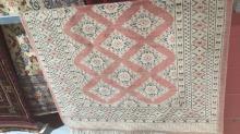 Vintage Pakistani pure wool handmade rug, geometric design on a pink and ivory ground, silk highlights, 197 x 127cm