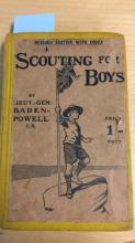 Book: 'Scouting for Boys' by Lieut.-General Baden- Powell, revised edition with index, published 1909 by C. Arthur Pearson, London, note: ex-Libris, various stamps, library stamps, frontis & title page loose - retaped, some wear to page edges etc, dust j