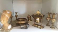 Various brass items, made in India incl. bowls, bell, miniature vases, plate etc, together with a soapstone Ancient Egyptian bust and a knight-themed bottle stopper