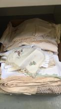 Box of vintage linen and lace