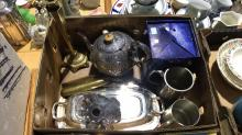 Box of various brass, silver and pewter items incl tankards, candlesticks, teapot, lidded serving dish etc