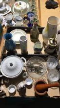 2 x boxes of various kitchenware and vases incl timber mortar and pestle, cut glass dessert bowls, coffee grinder etc