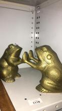 2 brass frog form bookends