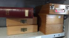 6 x vintage timber slide boxes