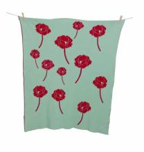 Alek & Luka Luxe baby blanket, 'Fields of Poppies', green & red, 80 x 100cm, 20 pieces, (original RRP $59.99 each) (sold as one lot of 20)