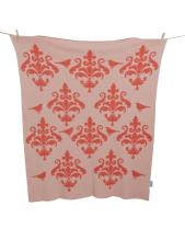 Alek & Luka baby blanket, 'Damask Birds', salmon & peach, 80 x 100cm, qty 20,  (original RRP $59.99 each) (sold as one lot of 20)
