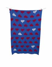 Alek & Luka vintage kids linen cot blanket, 100 x 150cm, sail boats pattern, 10 pieces, (original RRP $79.99 each) (sold as one lot of 10)