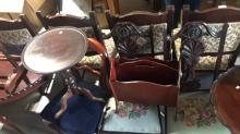 3 pieces to incl. timber wine table, magazine rack,  Victorian style chair