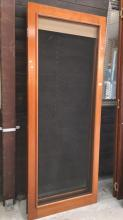 Pair of cedar framed fly screen doors, with brass handles, 204cm T x 81cm H