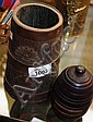 2 Timber items, 1 wooden beaker brass bound with a