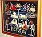 Extremely rare Australian wool work panel framed