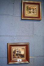 Diane Lane, pair of oil paintings - terrace