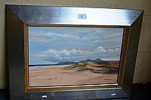 N. Pat Braddick oil on board - Tasmanian beach