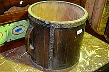 Rustic timber oriental water bucket, Coopered