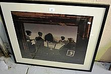 J Bernik photo lithograph - people seated at table