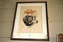 Connie Paul, watercolour, Lady with Puppy. signed