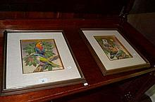 Artist unknown - 4x paintings of birds on linen