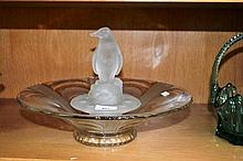 Vintage art deco etched glass centrepiece in the