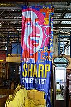 Martin Sharp banner for the exhibition on at the