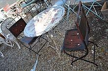 Rustic metal French style outdoor table & chairs