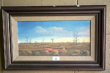 Jack Absalom oil on board 'Sheep Feeding' signed,